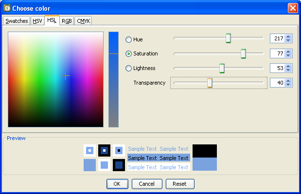 The new color chooser of Java 7